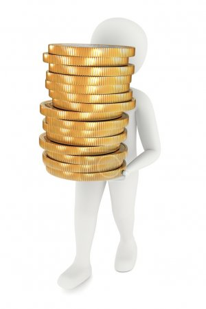 Photo for 3d man carrying stack of big golden coins - Royalty Free Image