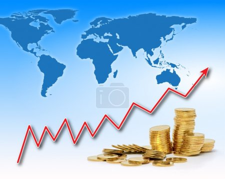 Photo for Stacks of golden coins under rising chart line and world map - Royalty Free Image