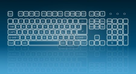 Glowing touch screen keyboard
