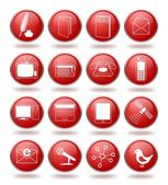 Vector set of communication icons in red spheres From writing telecommunication to internet and social networking
