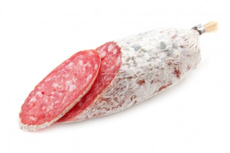 Salami slice isolated on white...