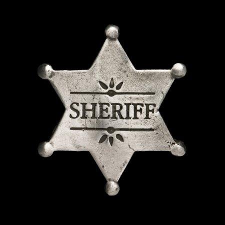 Photo pour Étoile de shérif isolée sur fond noir - image libre de droit