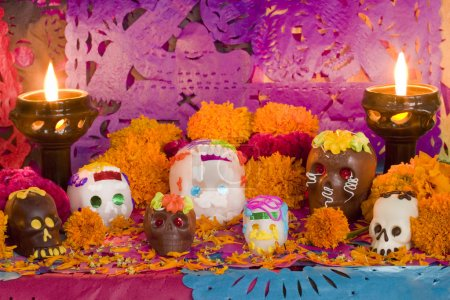Mexican Day of the dead altar. Carefully arranged ...