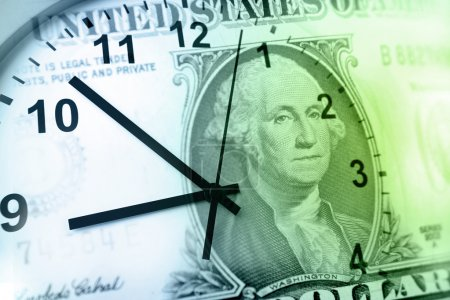 Clock and banknote