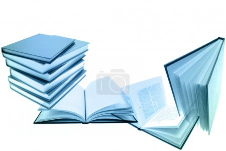 Books on plain background. Copy space