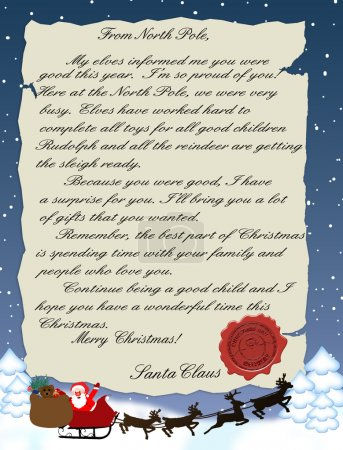 Illustration for Vector illustration of a letter from Santa Claus - Royalty Free Image