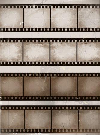Illustration pour Vintage rayé bandes de film sans couture ou collection de cadres - image libre de droit
