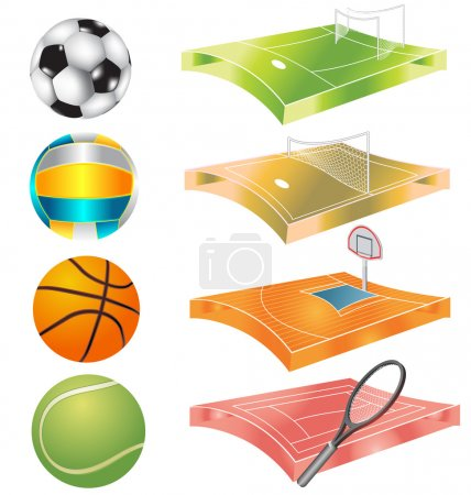 football, basketball, volleyball, tennis field and stadium