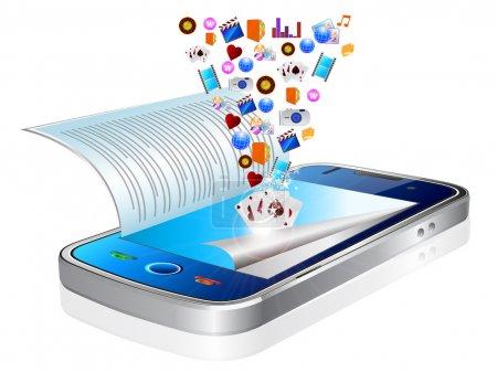 Illustration pour Beaucoup d'icônes d'application sont téléchargés dans un téléphone intelligent noir modern, semblant flotter au-dessus de l'appareil - image libre de droit