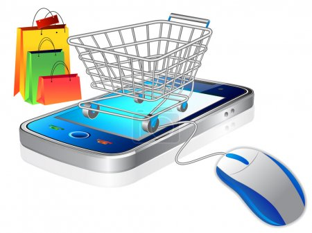 Photo for An illustration of a shopping cart trolley with smart phone mobile phone - Royalty Free Image