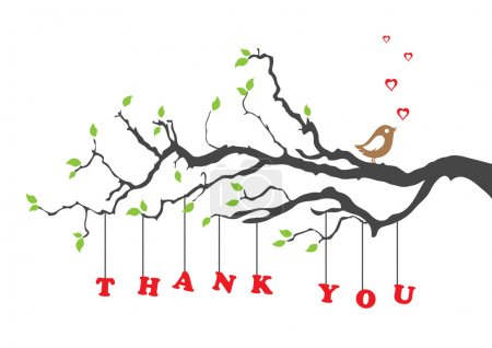 Illustration for 'Thank you' greeting card with bird. This image is a vector illustration. - Royalty Free Image
