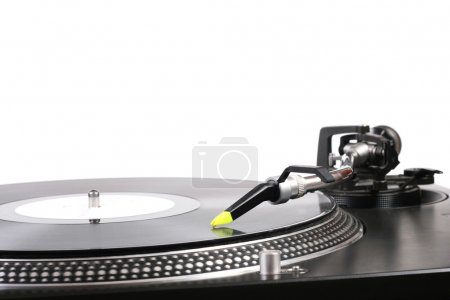 Turntable with the needle on the vinyl