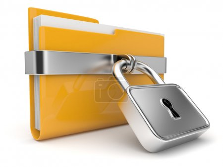 Photo pour Dossier jaune et verrouillage. Concept de sécurité des données. 3D - image libre de droit