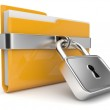Yellow folder and lock. Data security concept. 3D...