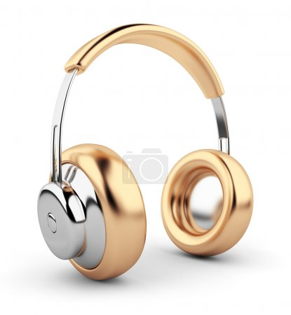 Golden headphones 3D. Icon. Isolated on white background