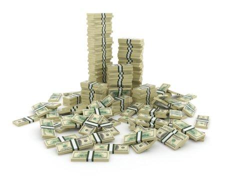 Photo pour Une grosse pile d'argent. Dollars verts USA Concept 3D. Isolé sur fond blanc - image libre de droit