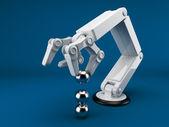 Robotická ruka drží koule 3d. Umělá inteligence. na modré