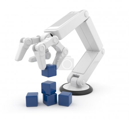 Photo pour Main robotisée recueillir cube 3d. intelligence artificielle. isolé sur fond blanc - image libre de droit