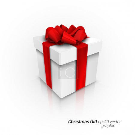 Illustration for Gift Box with Red Ribbon Bow | Detailed 3D EPS10 Vector Graphic | Separate Layers Named Accordingly - Royalty Free Image
