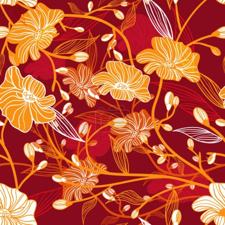 Photo for Abstract vector red seamless texture with orange drawing flowers - Royalty Free Image