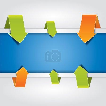 Illustration pour Composition abstraite de fond vectoriel coloré avec flèches et bannière bleue pour ajouter du texte dans - image libre de droit