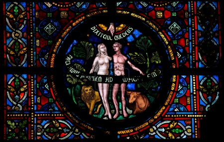 Photo for Creation of Adam and Eve, stained glass window in the church of Dinant, Belgium - Royalty Free Image
