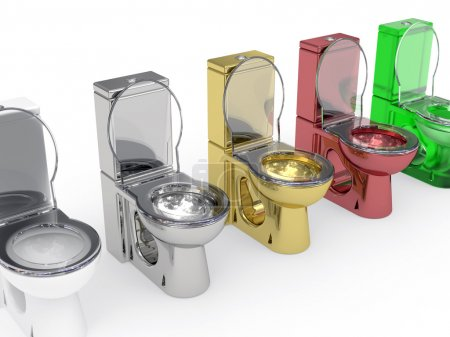 Photo for Line of varied WC rendered with soft shadows on white background - Royalty Free Image