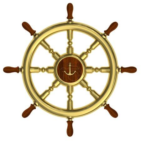 Photo pour Rendement du volant nautique doré isolé sur fond blanc - image libre de droit