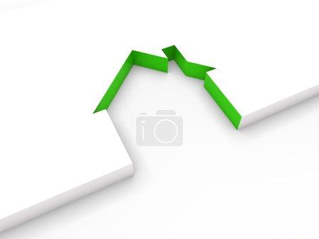 Foto de Finca de casa blanca de 3D Casa línea verde - Imagen libre de derechos