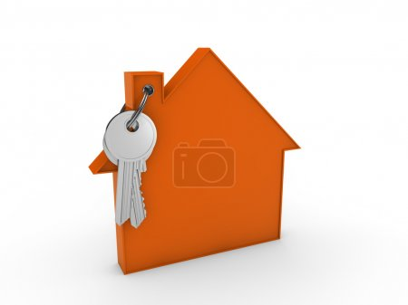 Photo for 3d house key orange home estate security - Royalty Free Image