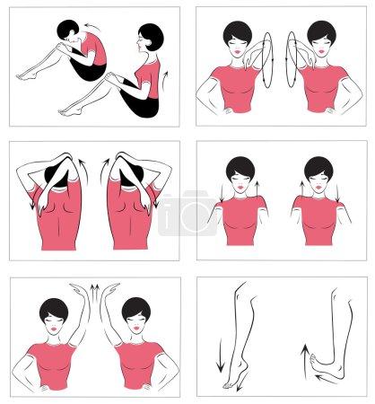 Векторный набор гимнастических упражнений