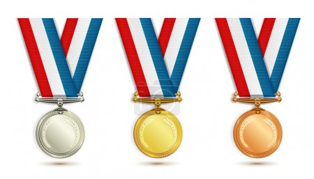Illustration for Set of gold, silver and bronze medals with ribbon over white background - Royalty Free Image