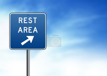 Photo for Blue Rest Area Road Sign on white background. - Royalty Free Image