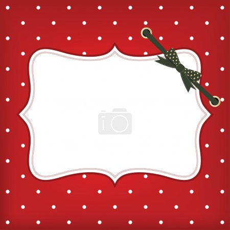 Vector greeting christmas card with frame and bow