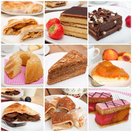 Photo pour Collage de neuf différentes tartes, desserts et gâteaux - image libre de droit