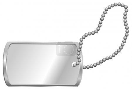 Photo for Shiny Blank Metallic Identification Plate - Dog Tag Isolated on White - Royalty Free Image