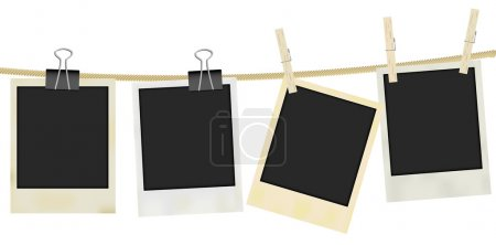 Illustration for Collection of Old Retro Blank Photo Frames Hanging on Rope - Isolated on White - Royalty Free Image