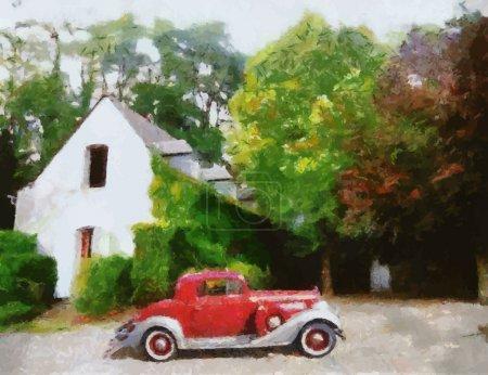 Вектор старинные автомобили масляной живописи