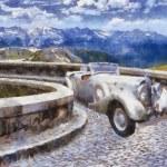Постер, плакат: Vector Vintage cars oil painting