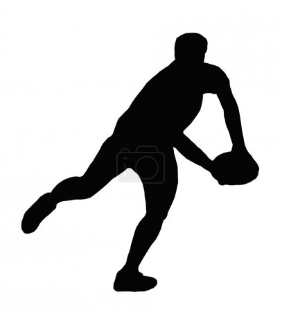 Sport Silhouette - Rugby Player Making Swinging Ru...