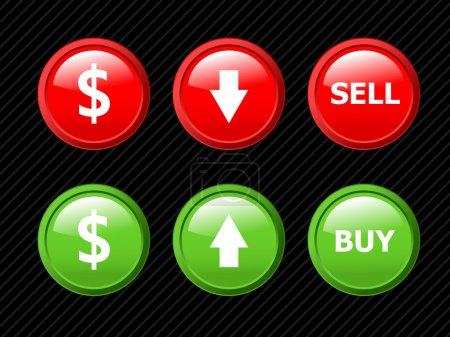 Satz von Vektorsymbolen für Devisengeschäft Thema auf blac