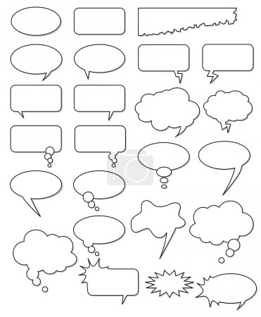 Illustration for Collection of different empty vector shapes for comics or web. Add text, easy to edit, any size. - Royalty Free Image