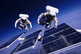 Two astronauts in outer space