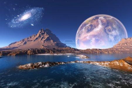 Photo pour Paysage de montagne fantastique de la planète. - image libre de droit