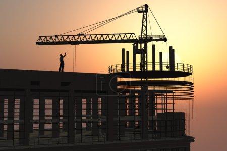 Photo pour Groupe des constructeurs sur la grue de construction - image libre de droit