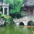 Chinese traditional style garden with rockwork and...