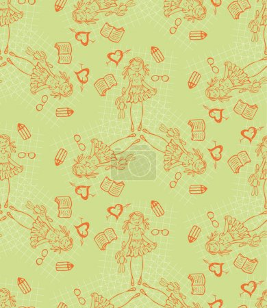 Illustration for Baby girl green vector cartoon seamless pattern. Glamour background. Endless texture for textile. - Royalty Free Image