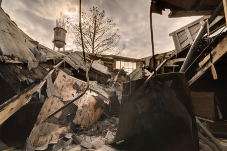 Photo for Debris from a collapsed roof - Royalty Free Image
