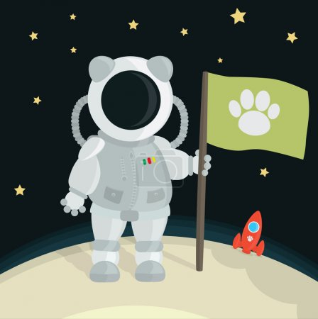Illustration for Cat Astronaut Planting Flag On The Moon - Royalty Free Image