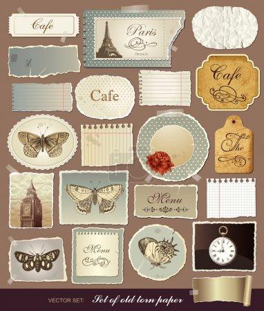 Illustration pour Collection de vecteur de divers éléments vintage avec des vieux papiers et les bords déchirés - image libre de droit